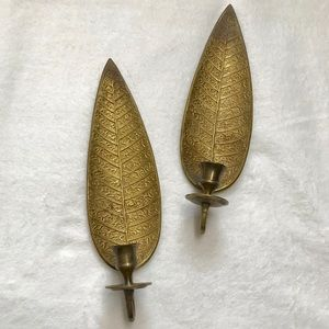 VTG Brass Intricate Leaf Wall Candle Holders